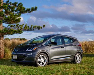 Black Chevy bolt car parked on grass with pine tree, blue sky and field in background